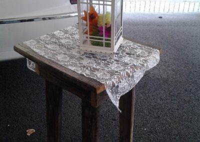 Rustic Table, Lace Runner, Lantern